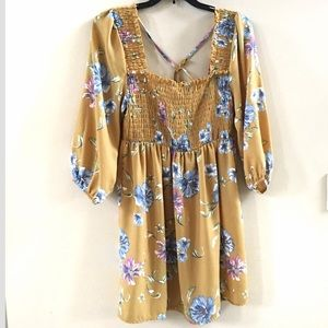 Xhilaration - Floral Yellow 3/4 Sleeved Dress (S)
